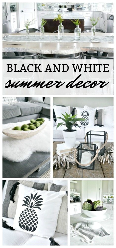 Black and White Summer Decor  - Learn how to add summer decor into your home while still keeping a neutral color scheme. This monochromatic tour will gives you tons of modern coastal ideas!