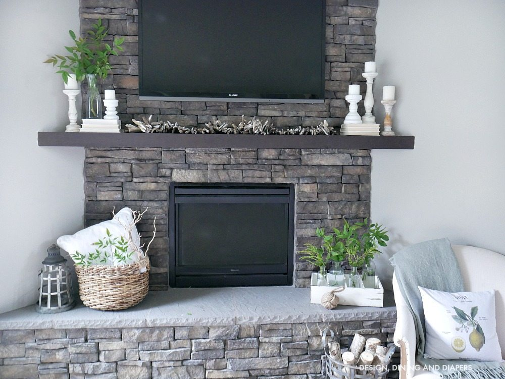 Neutral Summer Mantel with a mixture of traditional farmhouse touches