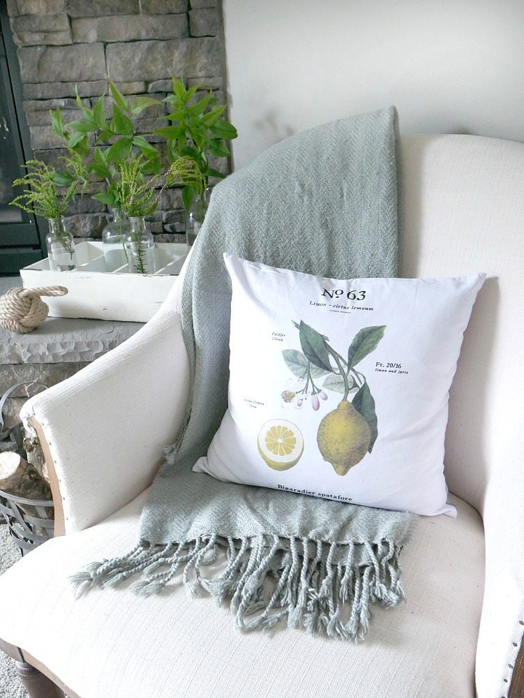 Summer Decor with lemon botanical pillow