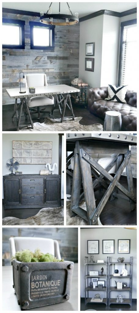 Get all the details on this modern rustic office design. This industrial home office has a great mix of texture and neutrals including a reclaimed wood wall, industrial metal desk, leather sofa and more. Such a timeless office design.
