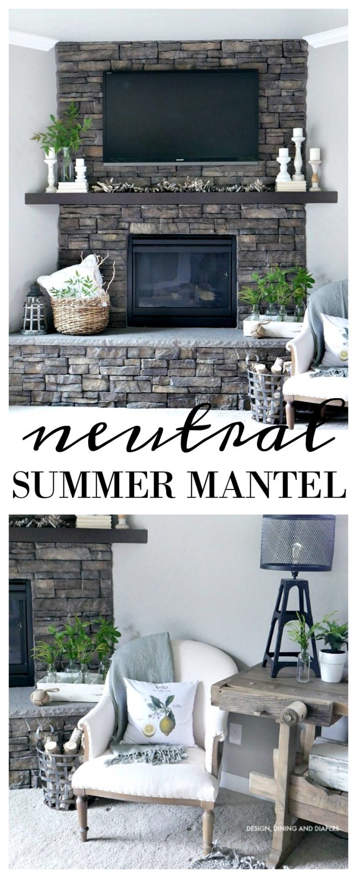 A simple neutral summer mantel. Just a few touches of summer greens and wicker to add a little summer decor to your fireplace.