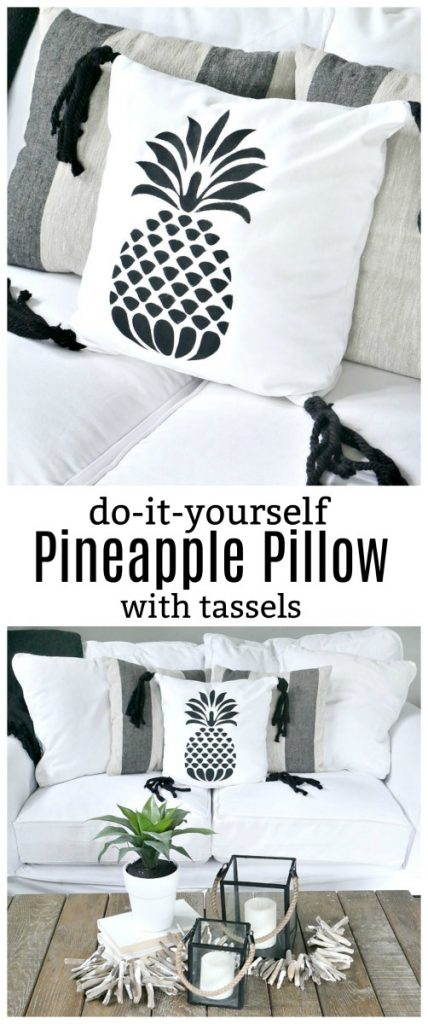 Learn how to create this DIY Pineapple Pillow! The cute black and white summer design is the perfect touch for the summer months!