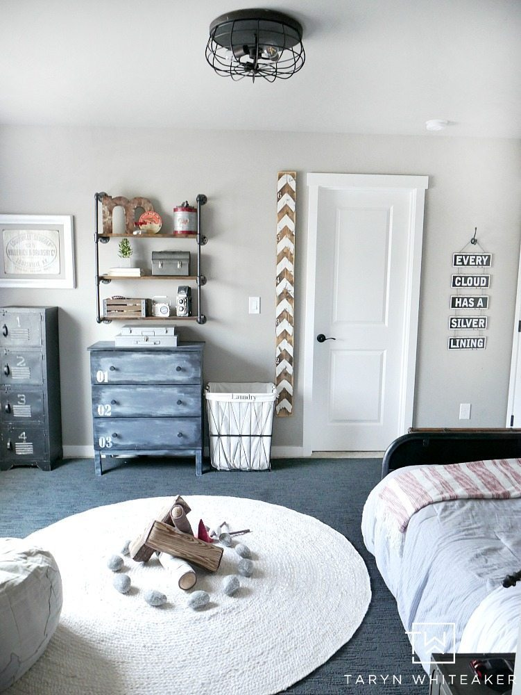 Black and Navy Rustic Boy Room Decor