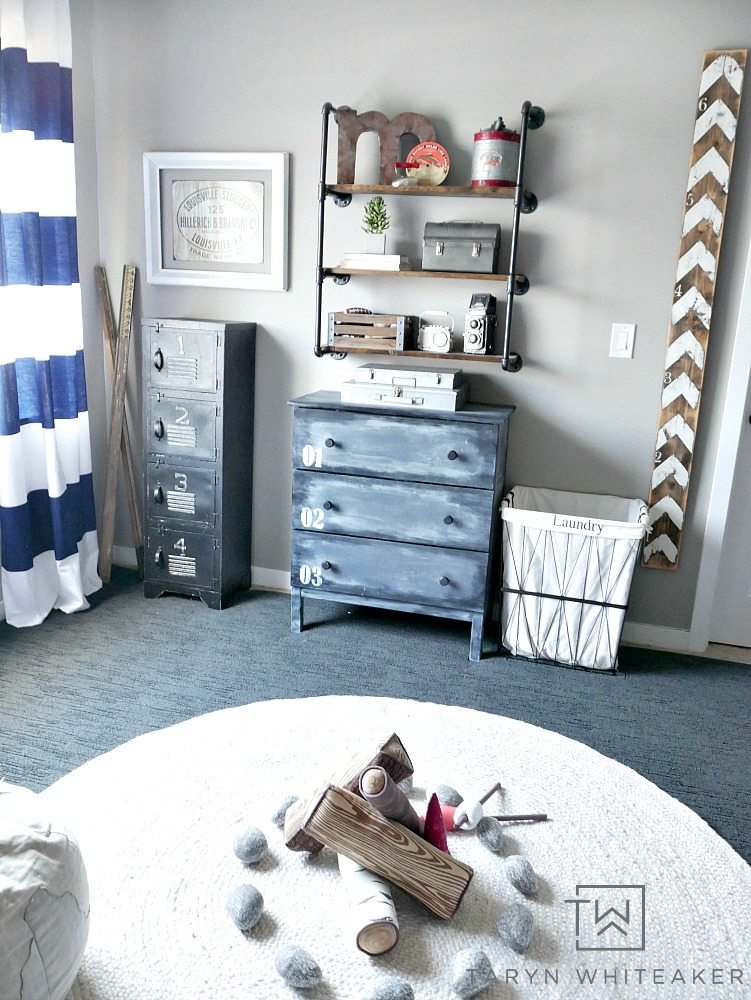 Navy and Black Rustic Boys Room with industrial pipe shelves and painted farmhouse dresser.
