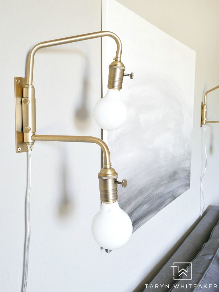 Industrial Gold Wall Sconces paired with boho chic decor