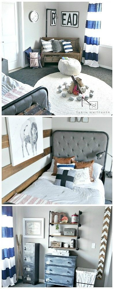Black and Navy Rustic Boy Room