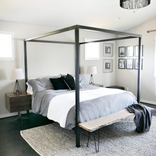 Master Bedroom Update – Steel Canopy Bed and Bedding
