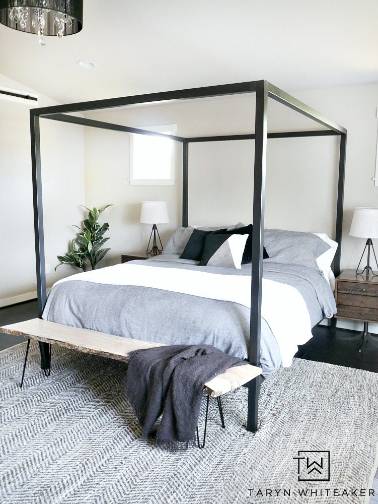 Get A Clean And Modern Look For Your Bedroom With This Modern Steel Canopy  Bed With