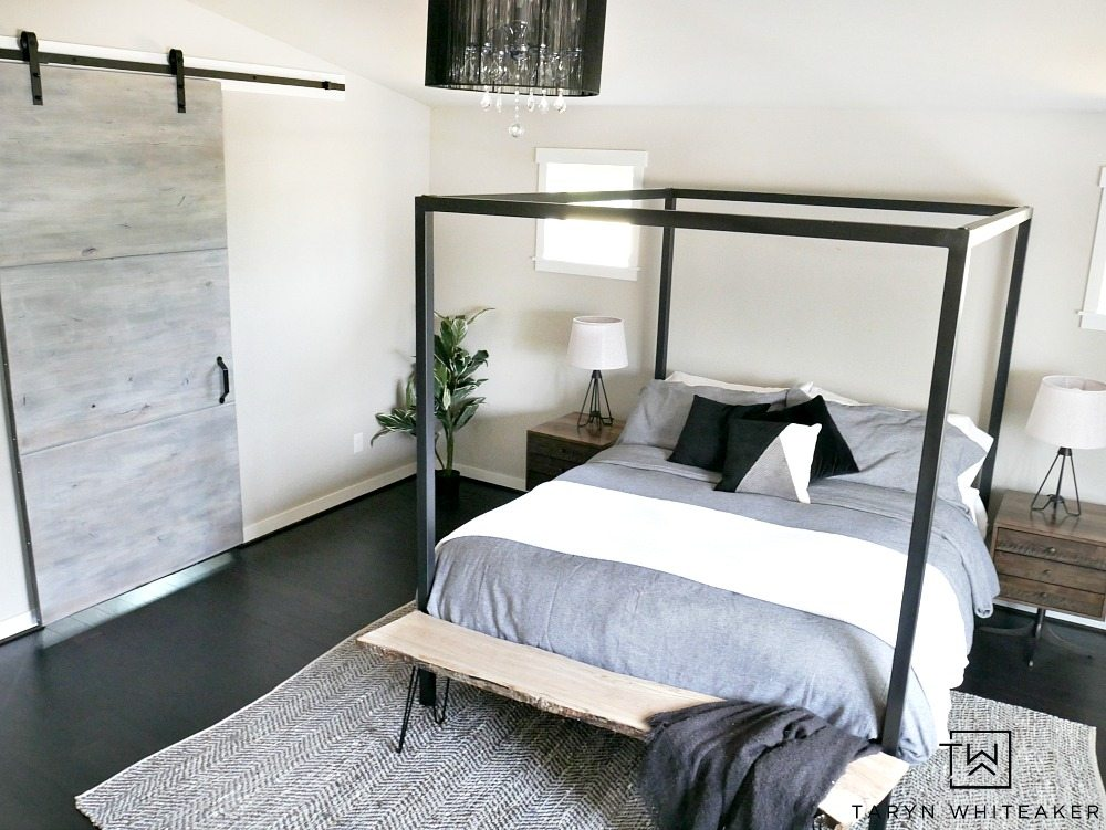 Create a rustic modern bedroom by pairing clean lines and lots of texture. Mixing steel, wood and lots of natural textures.