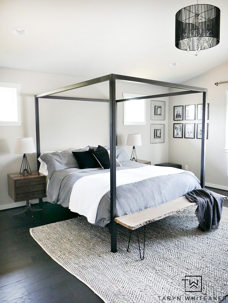 Trend Modern Steel Canopy Bed with gray bedding from Room u Board