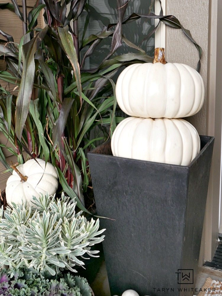 White pumpkin topiary in modern black planter! Easy porch decor for fall!