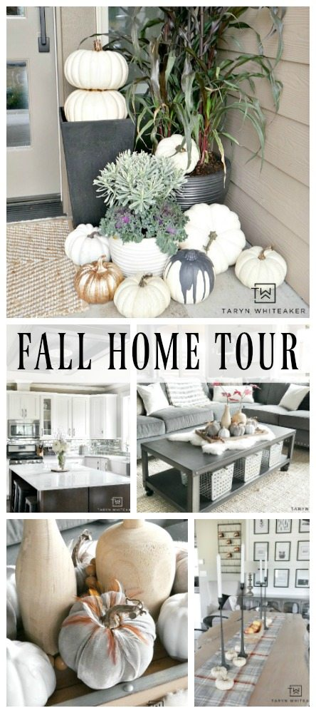 Take a tour of this Rustic Modern Fall Home Tour with blogger Taryn Whiteaker. Her home is filled with elegant touches of fall in a modern setting. Tons of white pumpkins and subtle touches of fall. Click to take a full tour!