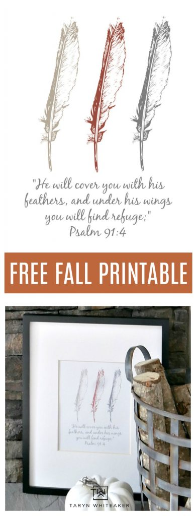 Free fall printable with feather and verse.