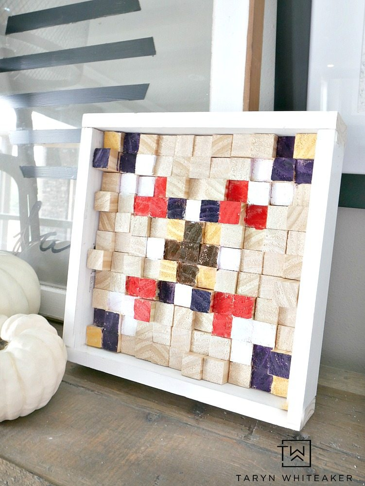 Create this DIY Tribal Wood Block Wall Art using raw wood and Kwik Stix Tempera Paint Sticks, they dry in 90 seconds! What a cool boho project for fall!