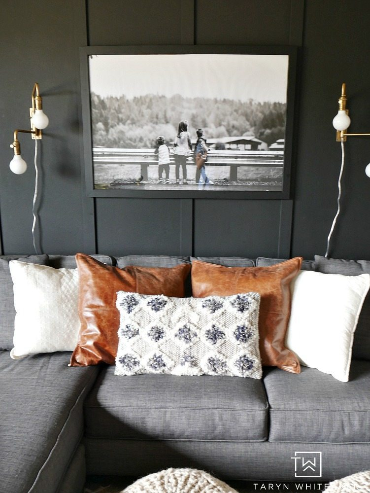 Looking for a bold look? Check out this Dark Moody Room Makeover with rustic modern decor. The dark walls make a big impact but also give it a cozy look.