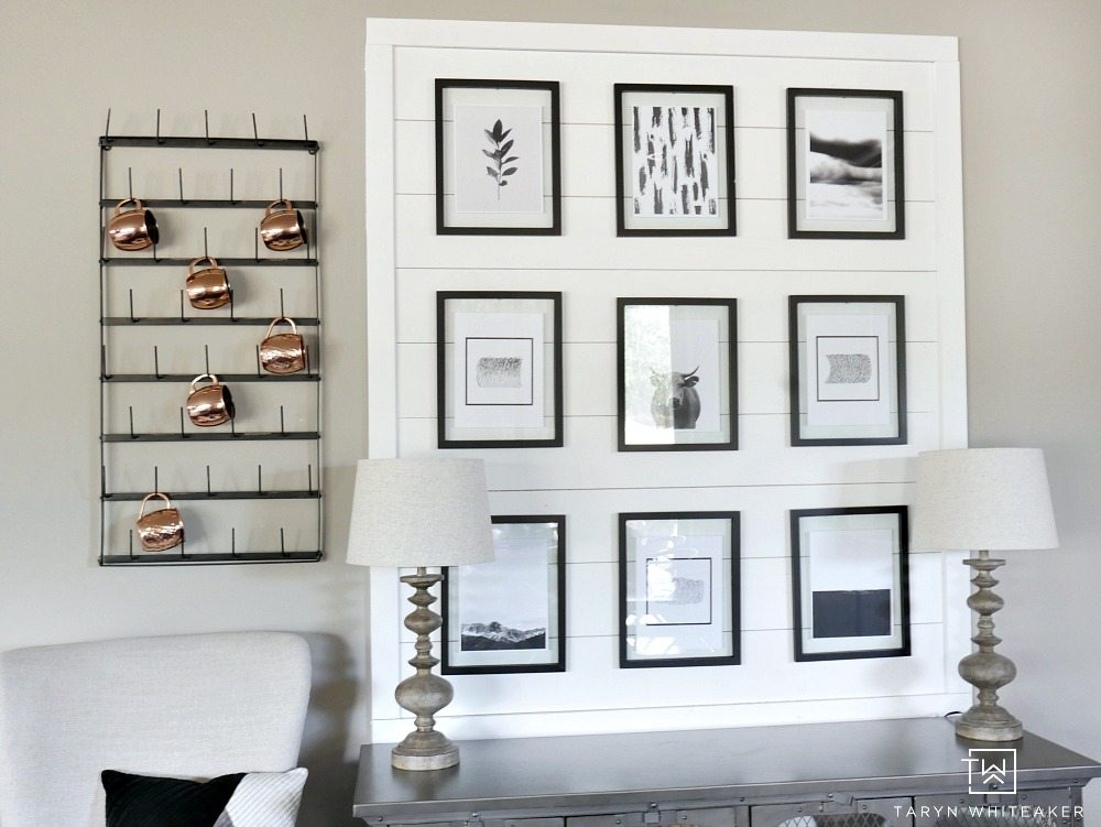 Easily recreate this rustic black and white gallery wall for your own home links to