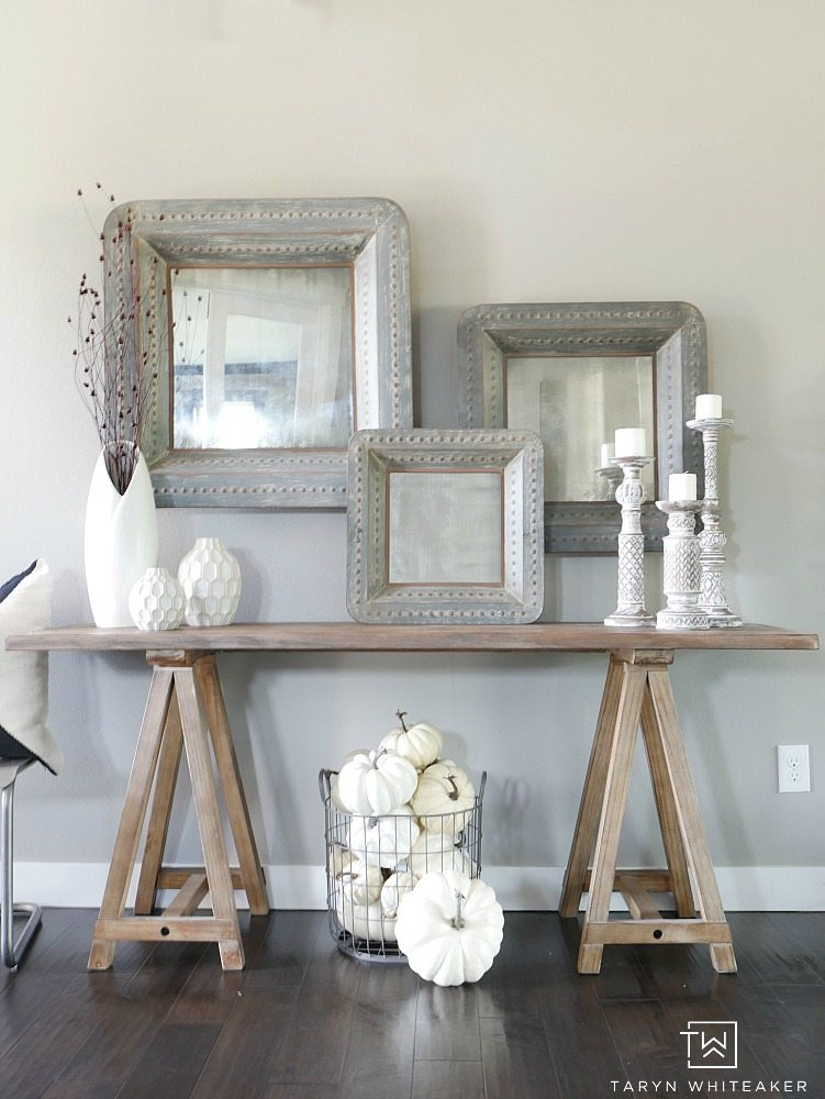 Fall Entry Way using whites and neutrals