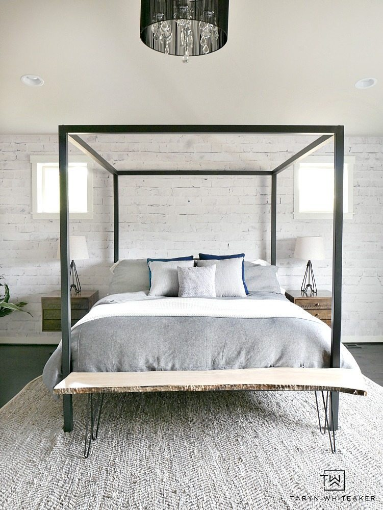 White Washed Brick Wall Mural