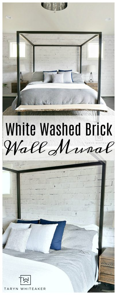 Give your room dimension by adding an accent wall using a white washed brick wall mural from Walls Need Love. This is a removable wall mural that won't damage your walls and is so easy to install. Loving the Rustic Modern look it gives this room.