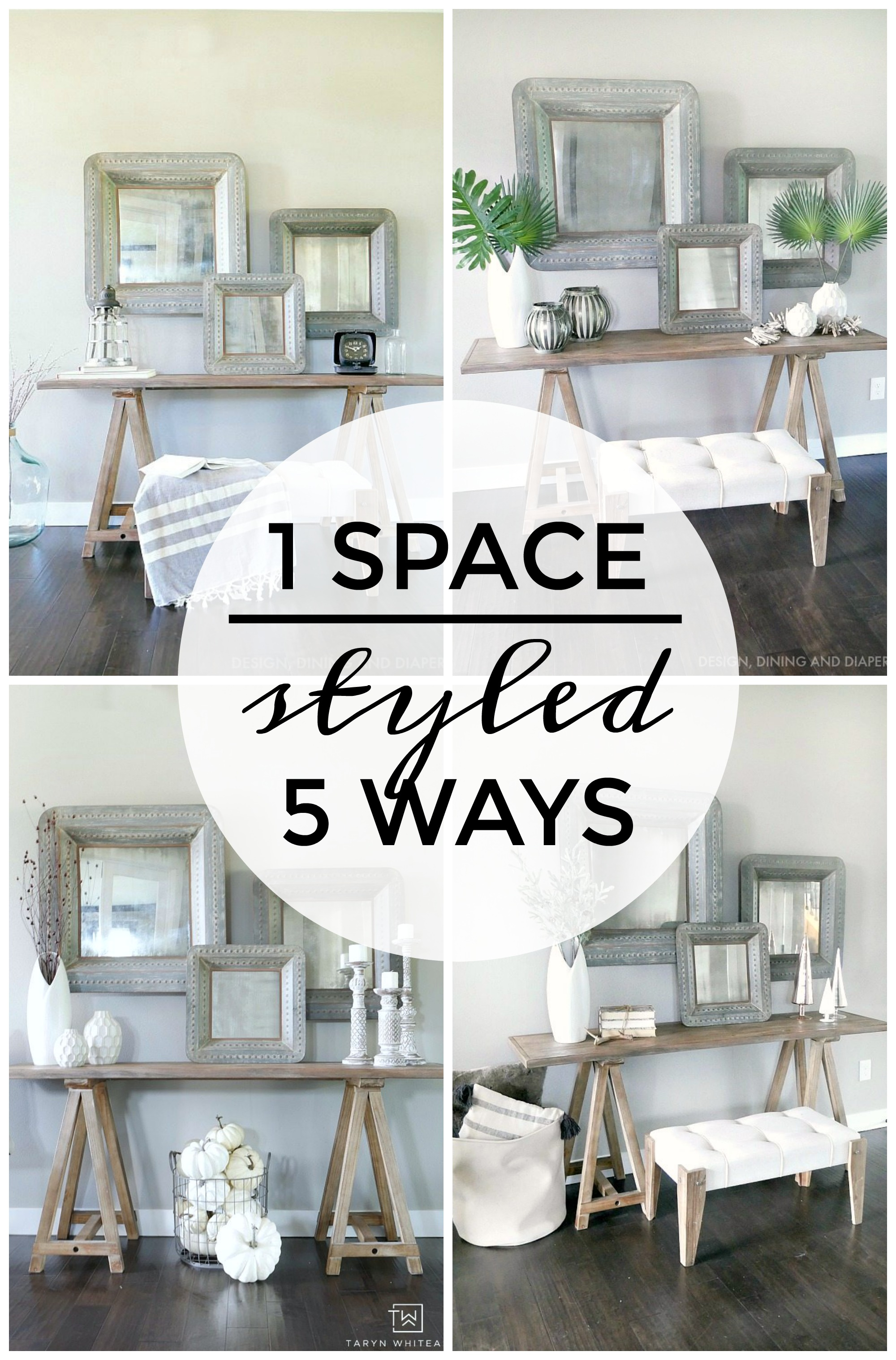 One Space Styled Different Ways - Learn how to make subtle tweaks to your home decor for each season without going overboard!