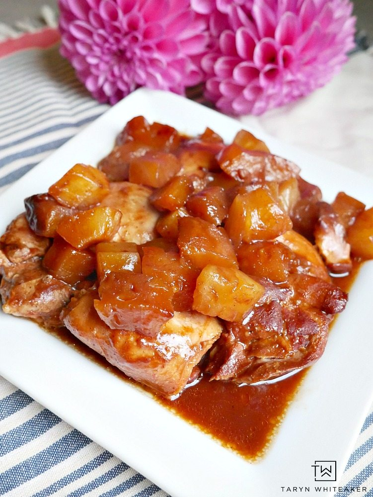 Try this easy Slow Cooker BBQ Teriyaki Chicken with pineapple! Such an easy dinner recipe that is quick to throw in the pot and serve with rice!