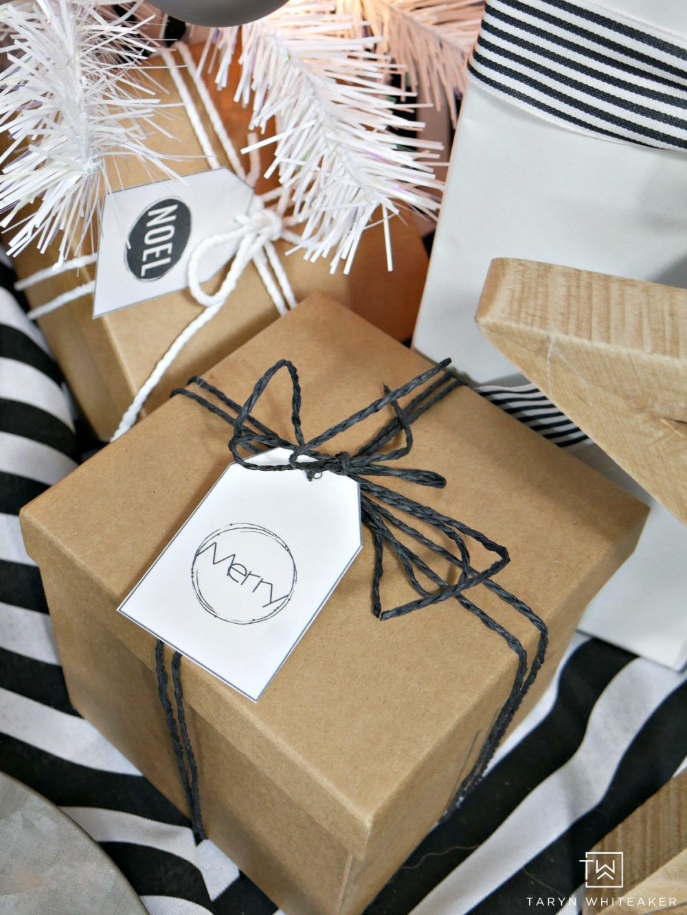Brown packages tied up with string and free printable
