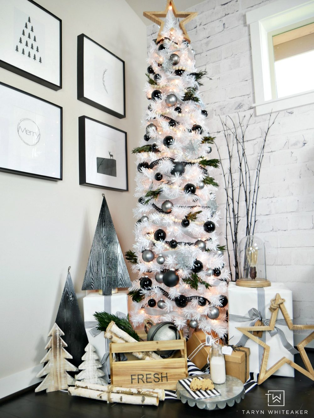 Tall Skinny Christmas Tree Decorating Ideas.Modern Black And White Christmas Tree Taryn Whiteaker