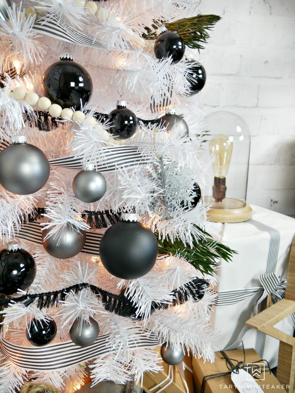 Modern Black and White Christmas Tree - Taryn Whiteaker