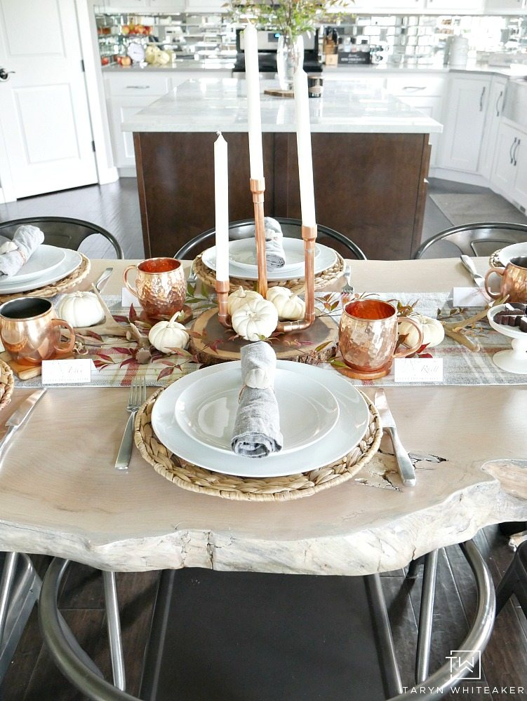 Simple Fall Table Setting using plaid table runner and white pumpkins with copper accents