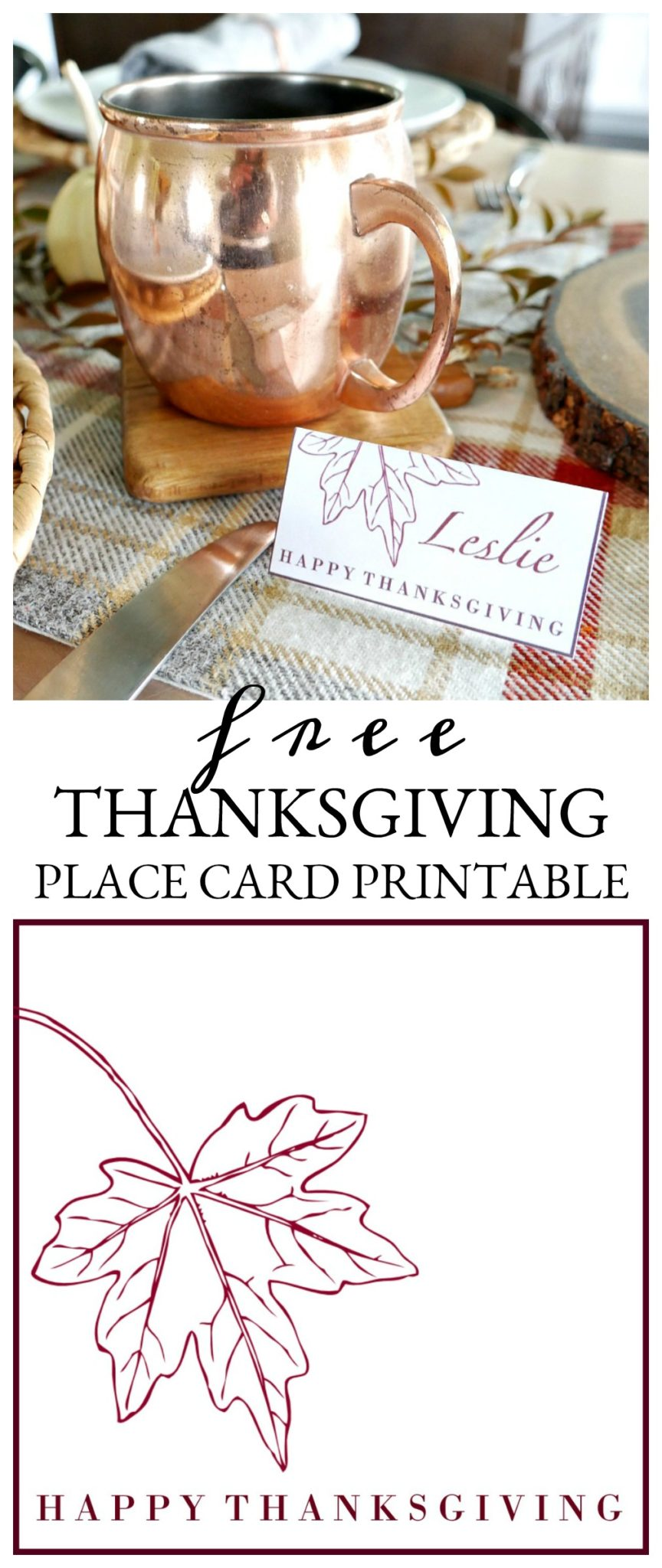 Simply download and print this FREE Thanksgiving Place Card Printable for your holiday table this year! Choose from three different colors.