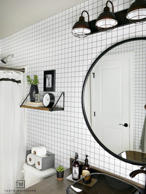 Black And White Geometric Bathroom Taryn Whiteaker