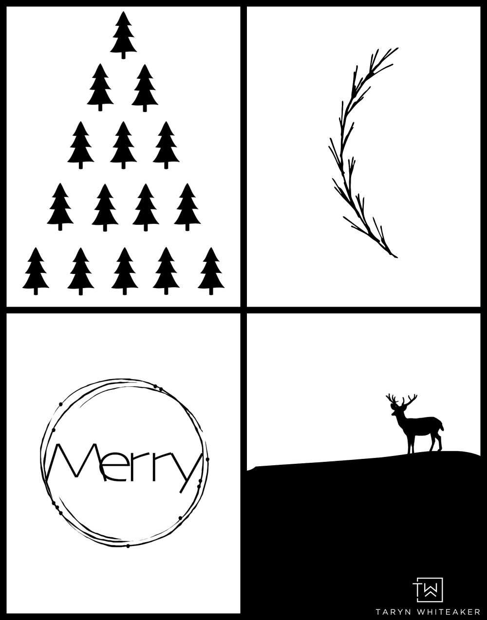 Black and White Modern Christmas Printables - Taryn Whiteaker