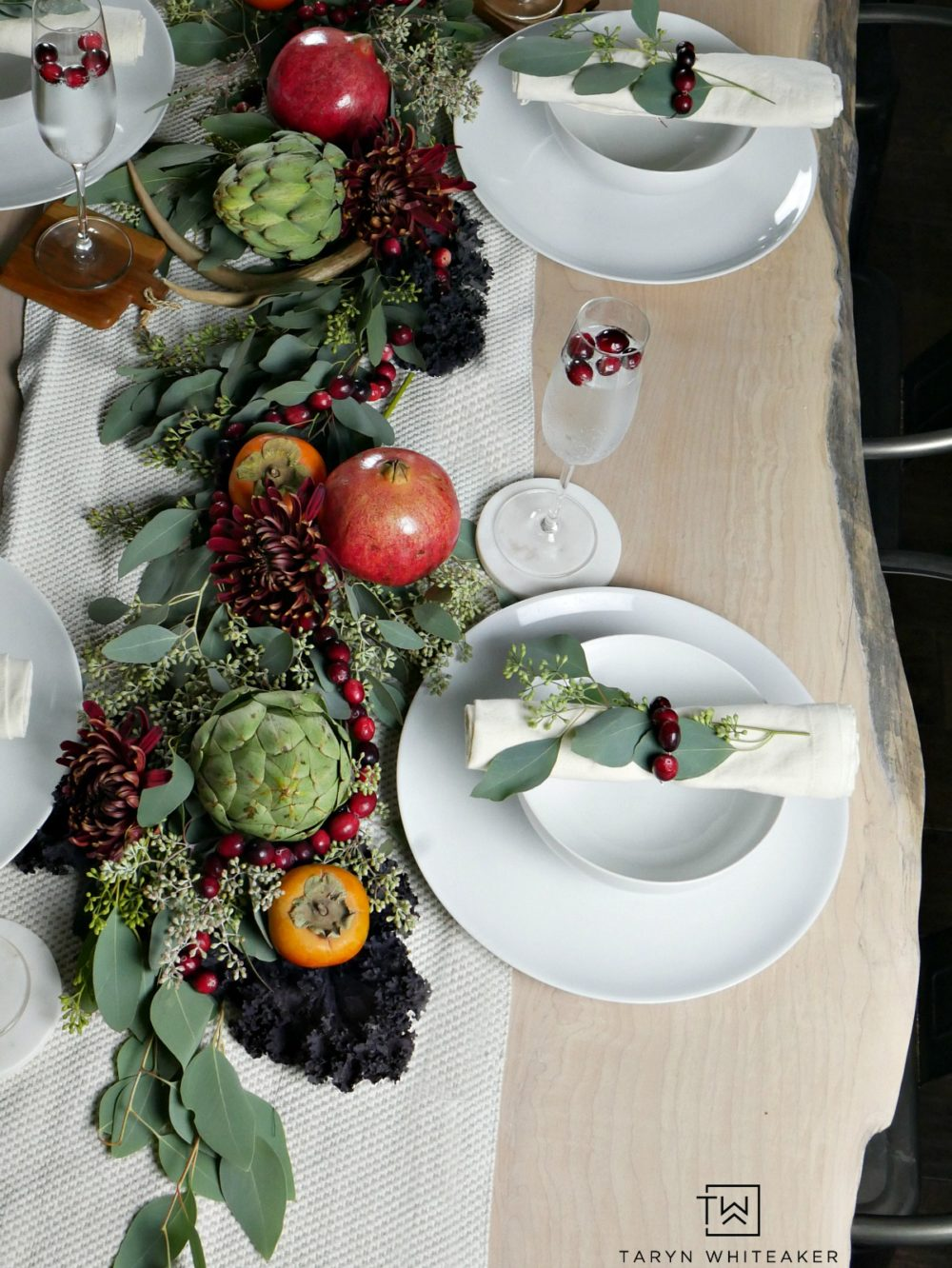 Thanksgiving tablescape with rustic feel