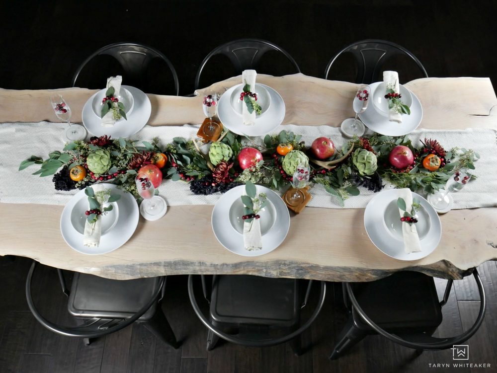 Gorgeous Fall Tablescape using fresh fruits and vegetables as the centerpiece and simple white dishes