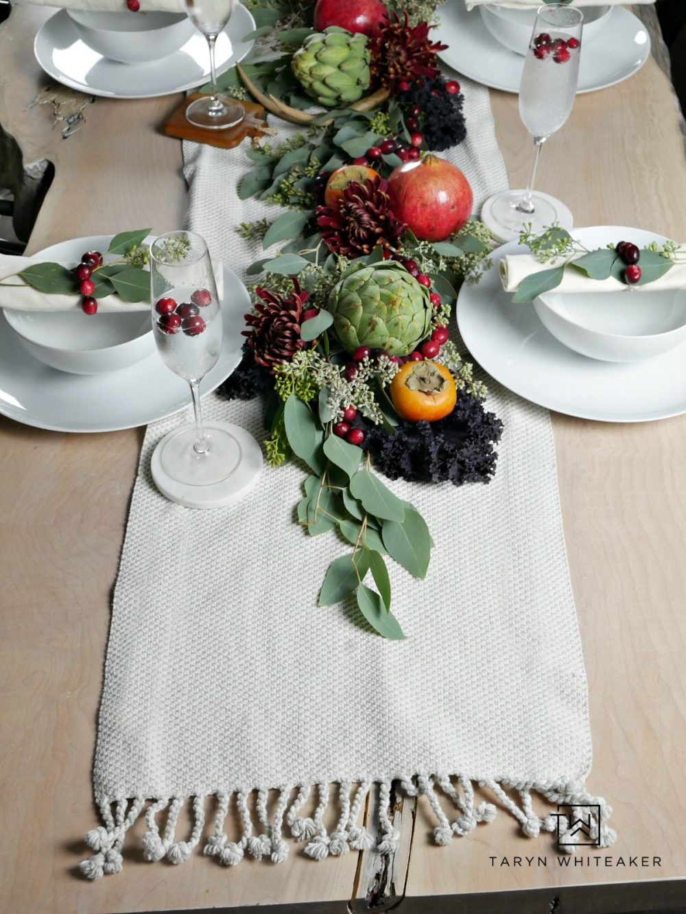 Rustic chic fall table using earth tones from fresh fruits and vegetables