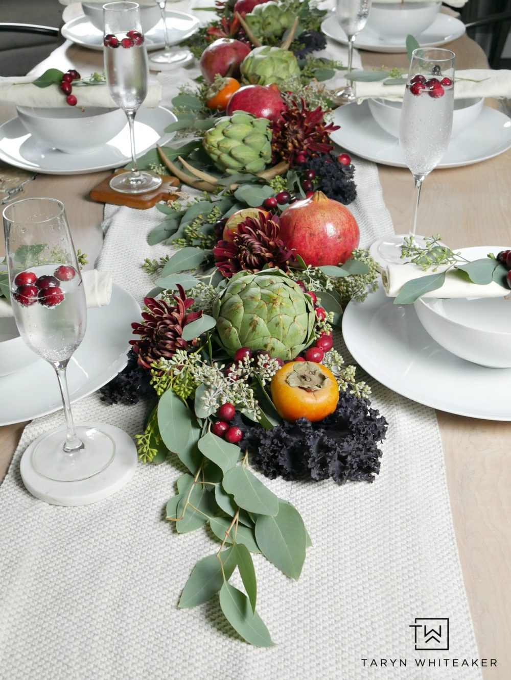 Thanksgiving Tablescape Featuring Cranberries - Love this rustic fall table setting using fresh fruits and vegetables