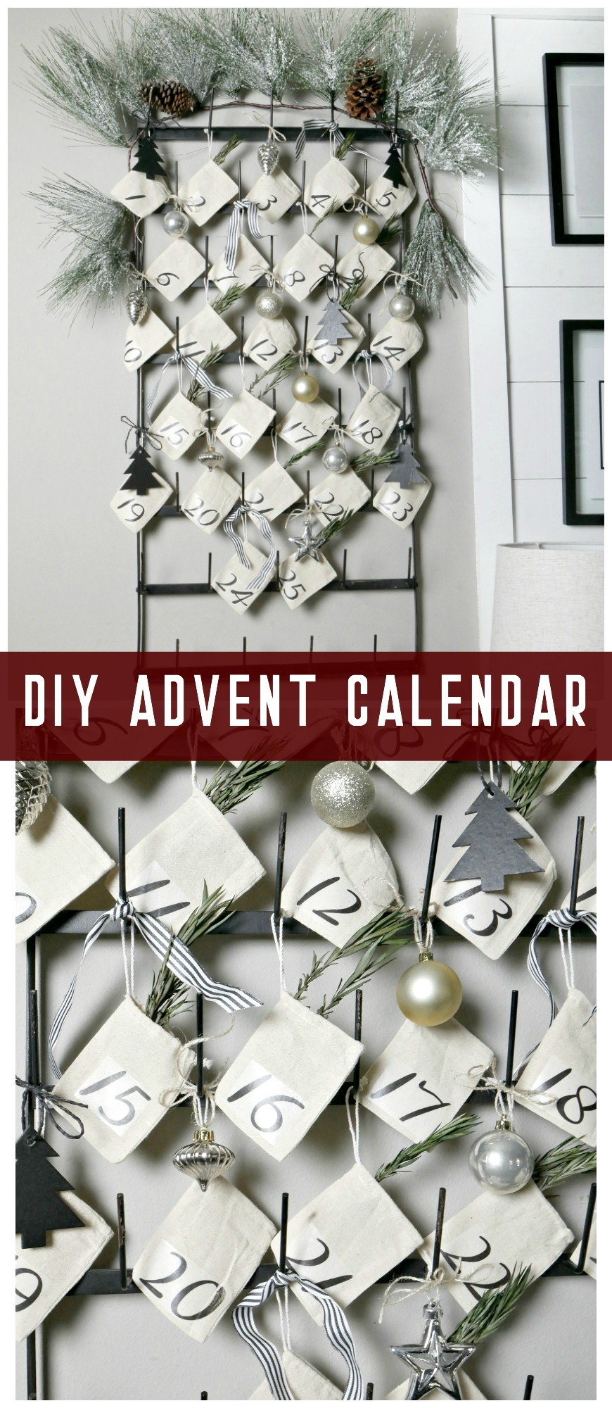 Create your own DIY Advent Calendar in less than 30 minutes! These little muslin bags hang perfectly on this vintage bottle drying rack for a festive look.