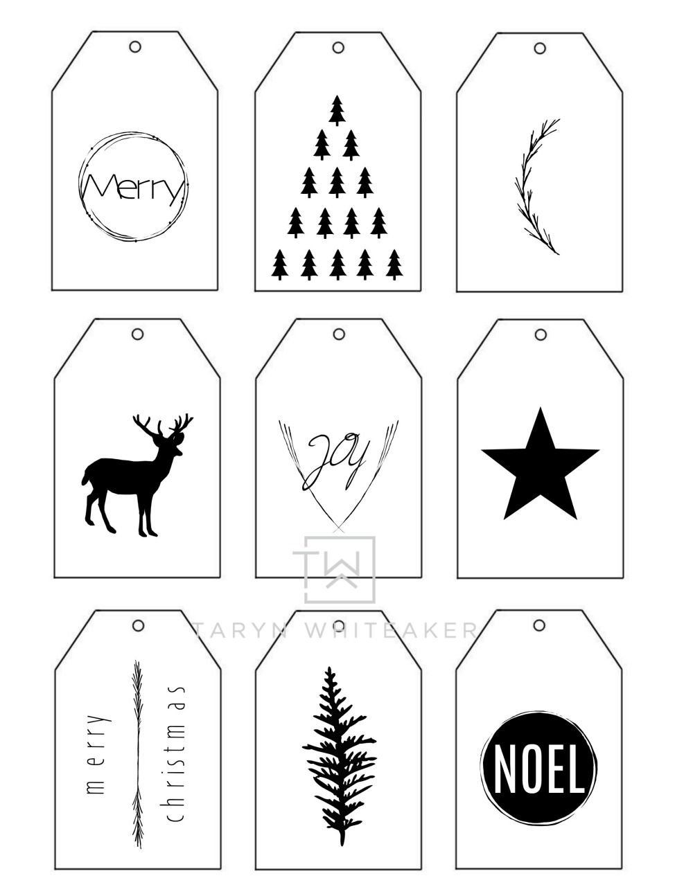 photograph relating to Printable Christmas Tags Black and White known as Printable Xmas Present Tags - Taryn Whiteaker