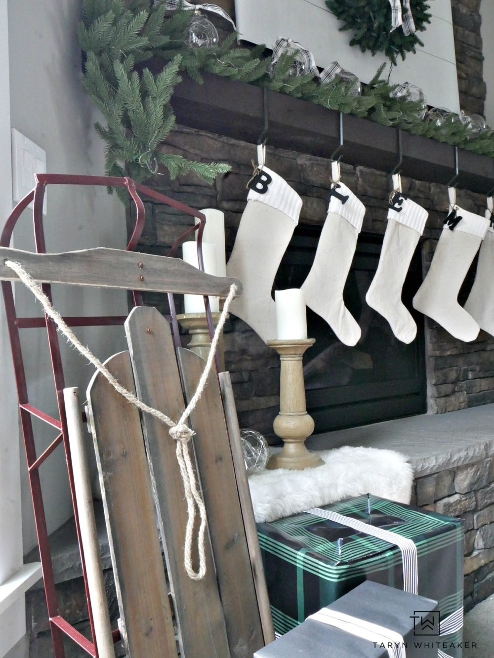 Place a vintage sled near the fireplace to give it a rustic and classic look for the holidays