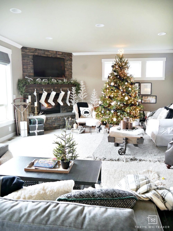 Green Black and White Christmas Home Tour - Taryn Whiteaker