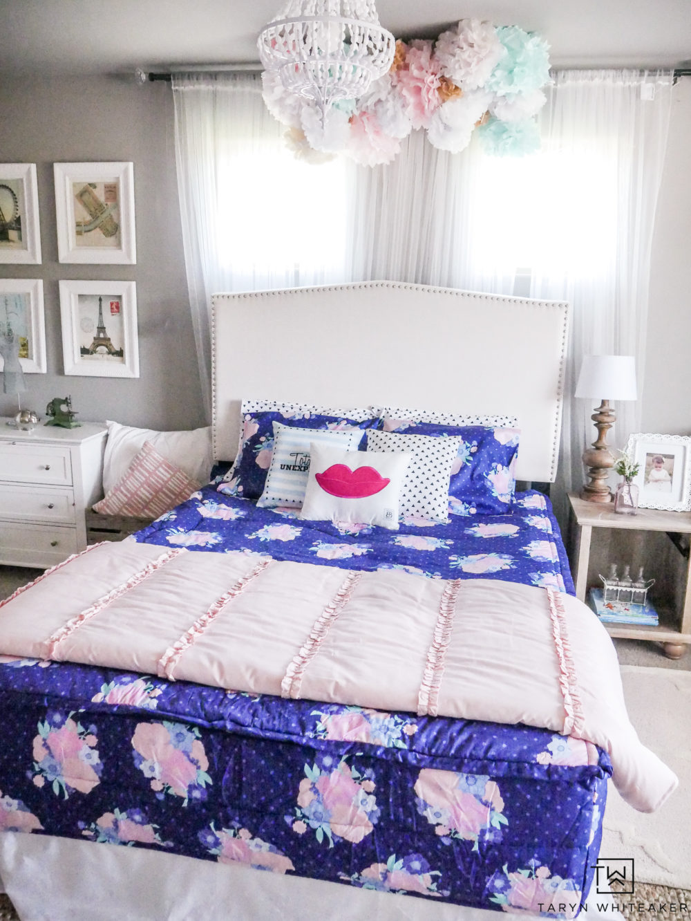 Cute and fun little girls room with new zipper Beddy's Bedding! Just zip on and off for easy use!