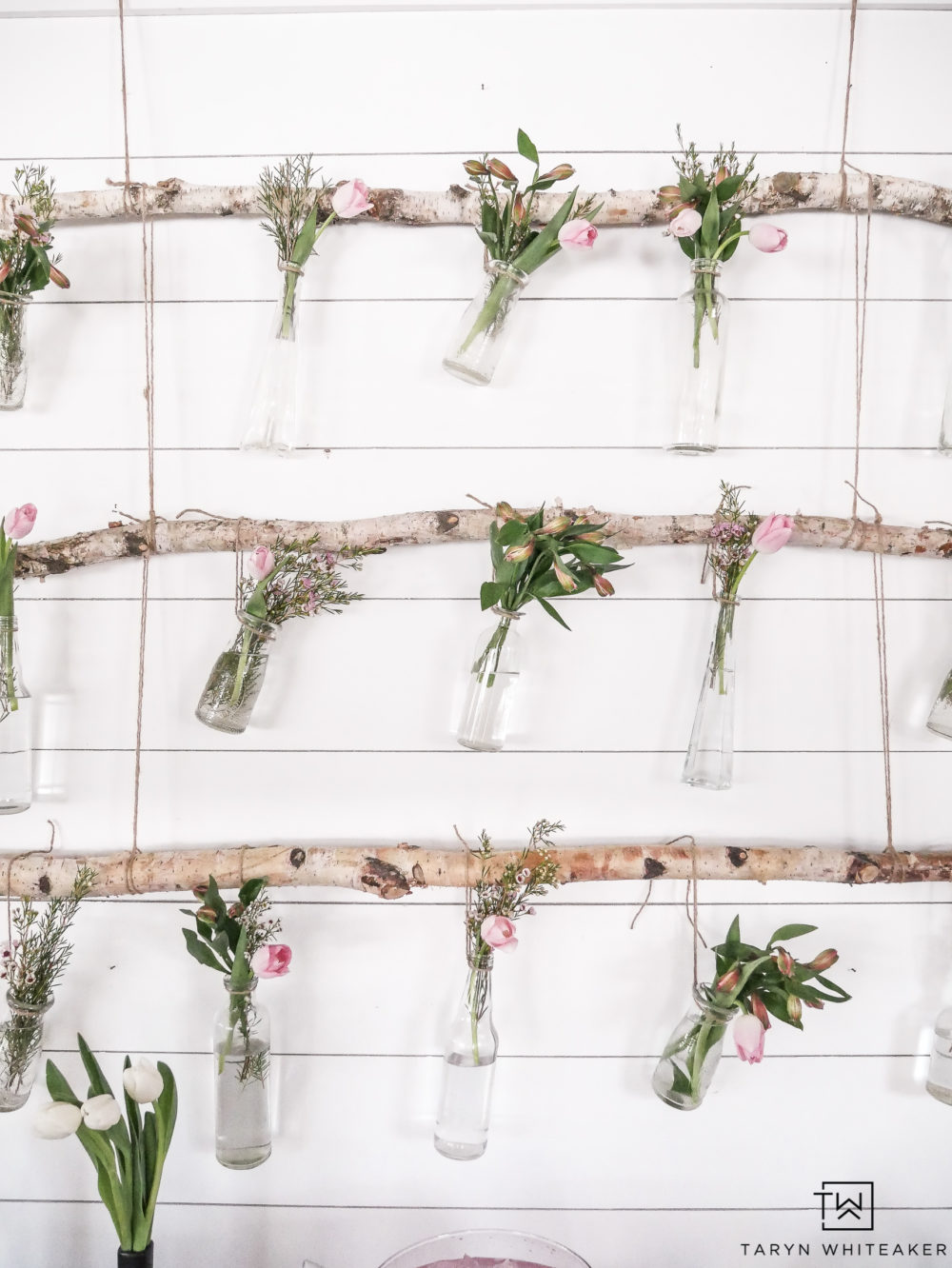 Create a DIY Hanging Flower Display for your next spring party!