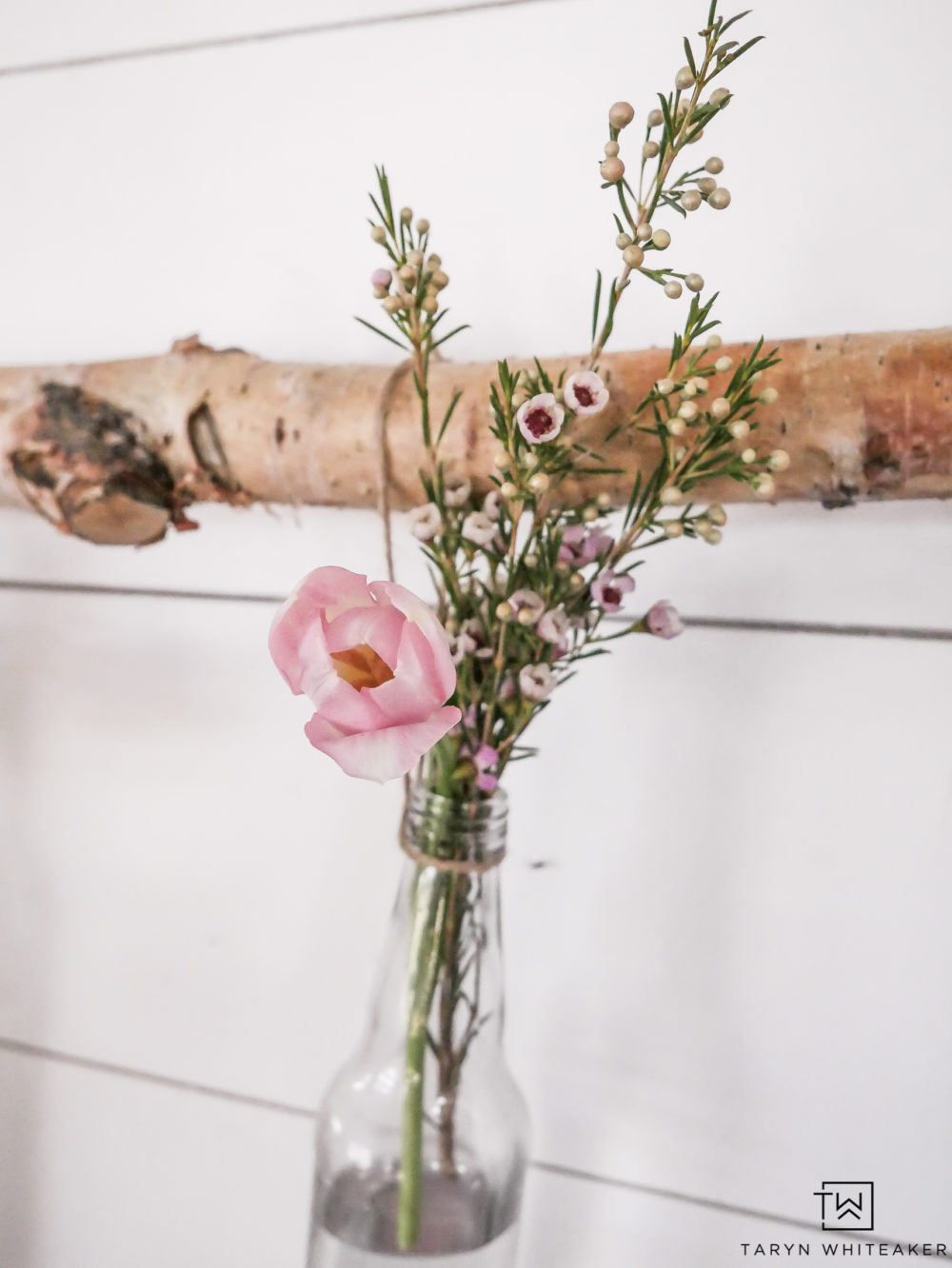 Pops of spring with pink tulips and Pink Geraldton Wax Flowers