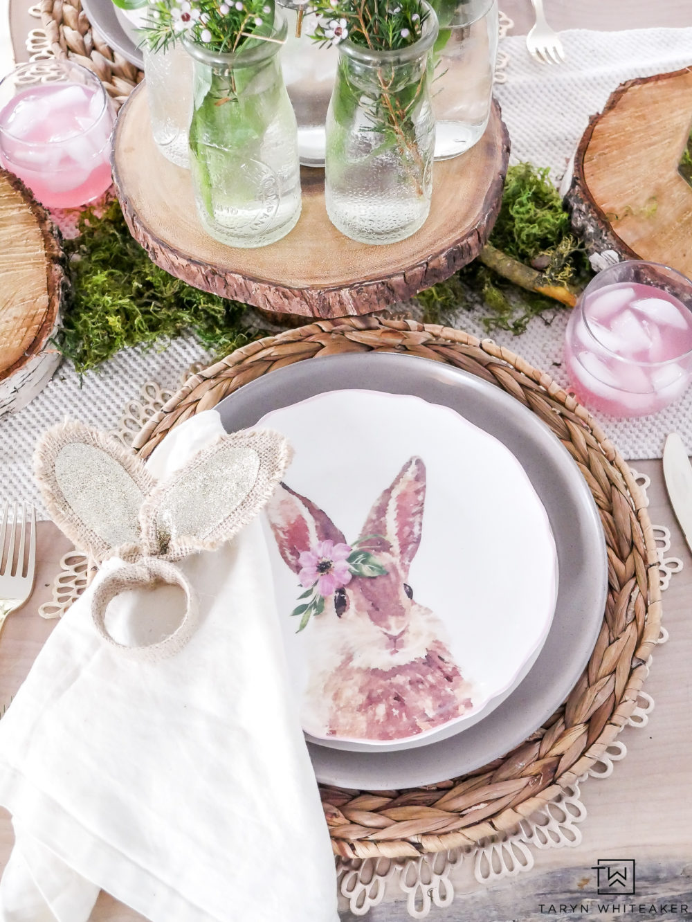 Pink and Green Easter Table complete with Bunny Plates and napkin rings!