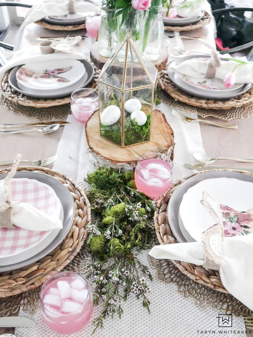 Pink and Green Easter Table with moss table runner and bunny plates!
