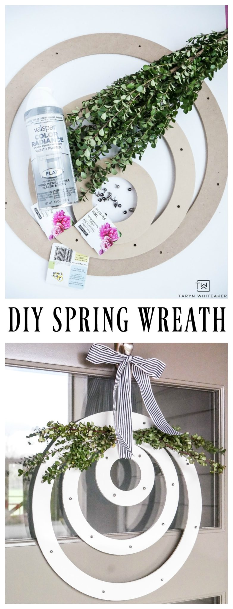 Create a fresh and unique look for your porch this spring! Learn how to make this DIY Modern Spring Wreath using items from the craft store and fresh boxwood!