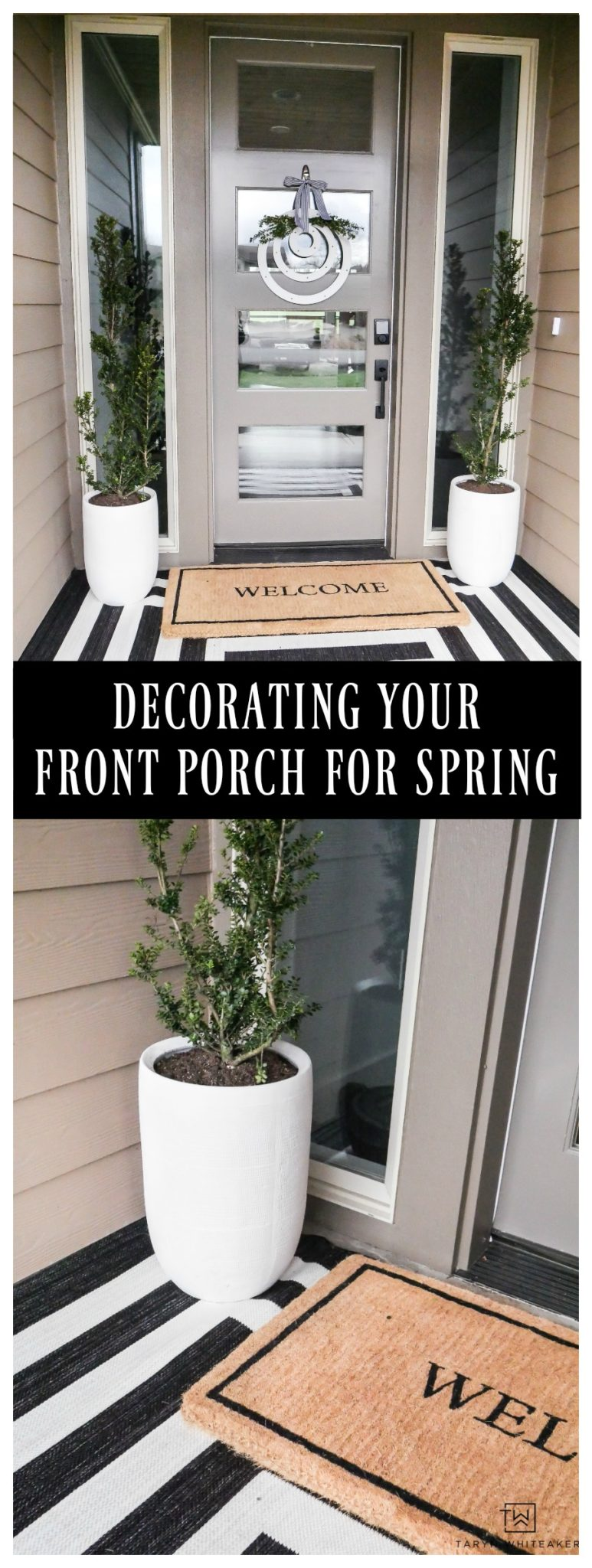 Get your porch ready for spring! Taryn shares her tips for decorating a front porch and reveals her modern spring porch decor! The black and white outdoor rug makes such a statement!
