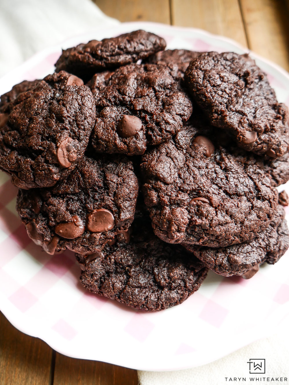Theses are my very favorite gluten free and dairy free double chocolate chip cookies! These cake mix cookies are SO easy to make and my kids love them!
