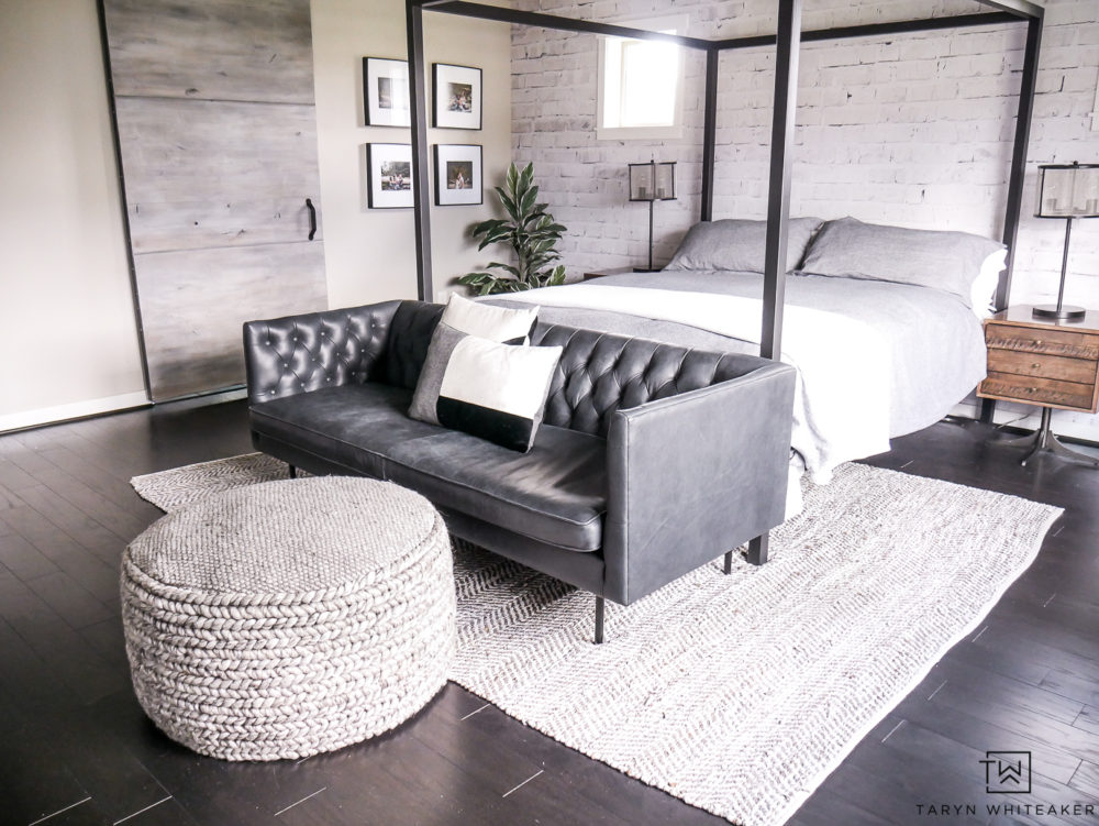 Create a modern but cozy seating area in your master bedroom! Great place to watch tv and cuddle up for movie night or read a book. Love how these pieces add texture and dimension to the space.