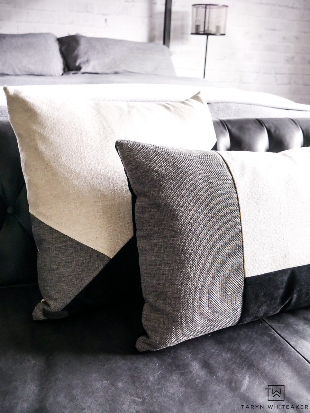 These black and white geometric throw pillows are the perfect pop to a natural space.